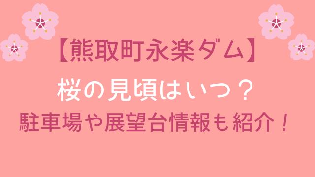 永楽ダムの桜の開花予想と見頃はいつ?アクセスと駐車場情報も紹介